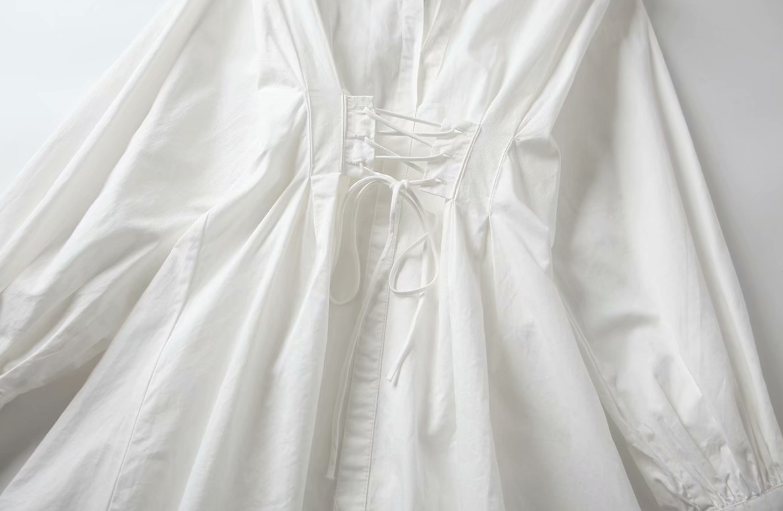 plus size white ladies casual shirt dresses