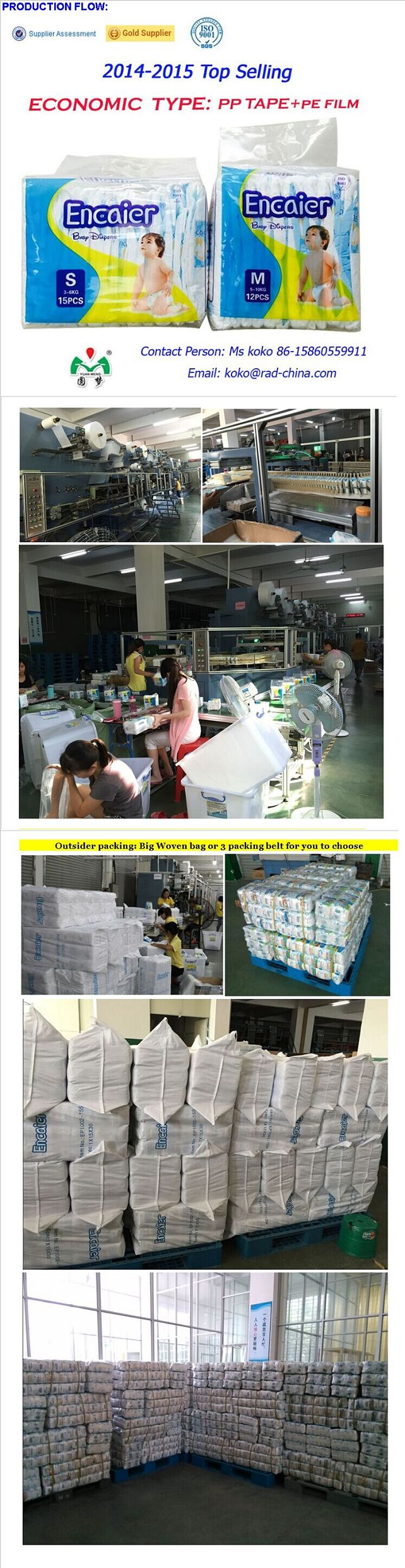 2016 Hot Sell Cheap Factory Price High Absorption Disposable Encaier Baby Diaper