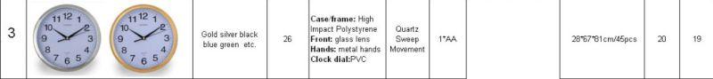 26cm Diameter 10inch Round Plastic Wall Clock (EP-item3)