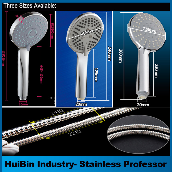 3-Function Hand Shower Head with Adjustable Slide Bar, Brushed SUS 304 Stainless Steel