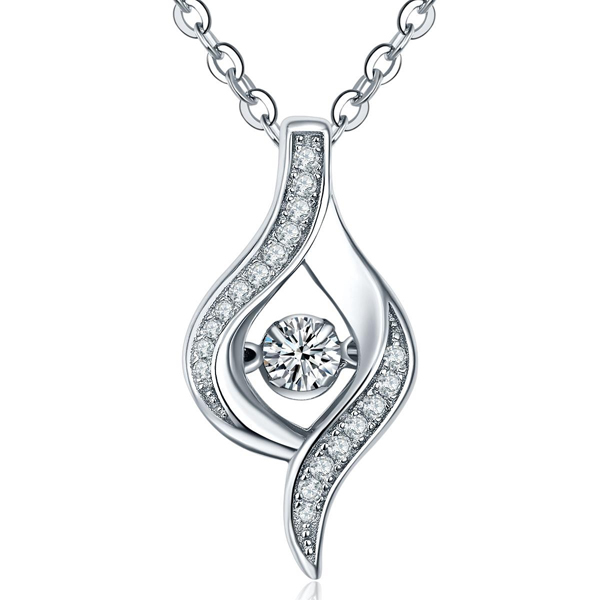 Prong Setting 925 Silver Pendants Necklace for Women
