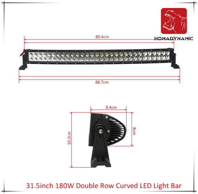 LED Car Light of 31.5inch 180W Double Row Curved LED Light Bar Waterproof for SUV Car LED off Road Light and LED Driving Light