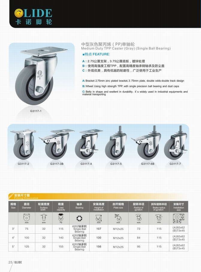 Medium Duty Single Bearing Tpp Swivel Wheel Caster (Gray) (G3117)