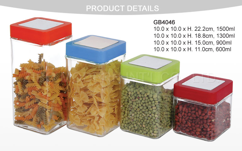 4 PC Square Glass Food Use Storage Jars with Airtight Plastic Lid