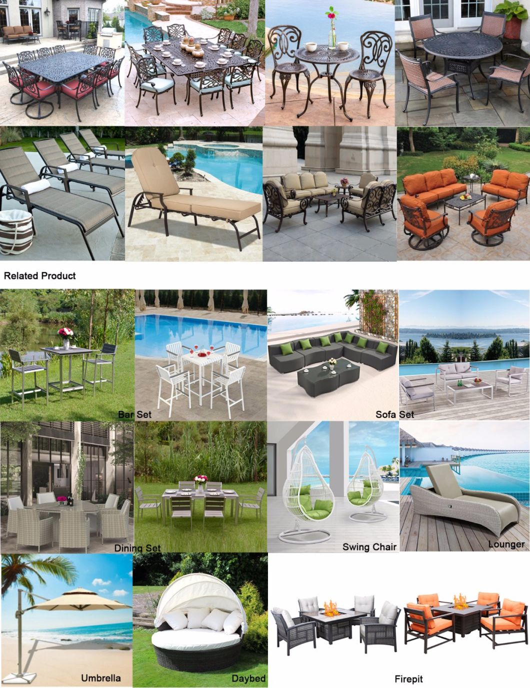 Outdoor Garden Cast Aluminum Rattan Table and Chair Set Patio Furniture