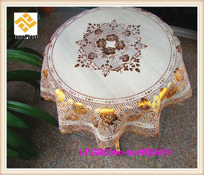 Vinyl PVC Lace Golden Table Cloth