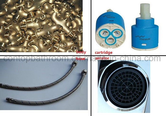 New Style Washingroom Products Double Handle 3 Hole Black Matt Basin Mixer