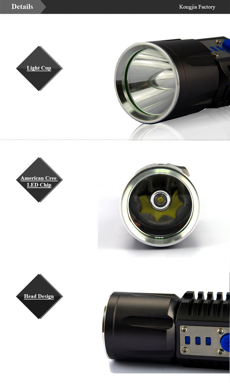 Waterproof LED Light Aluminum Alloy Rechargeable Flashlight USB LED Torch