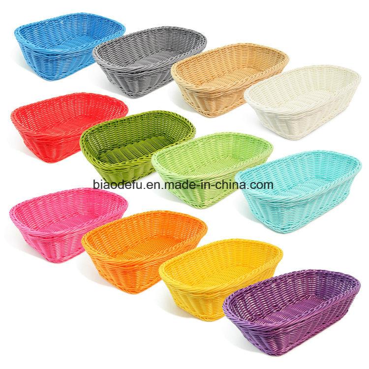 Rectangle Imitation Rattan Bread Basket, Food Serving Baskets, Diplay Baskets for Fruit Food Vegetables