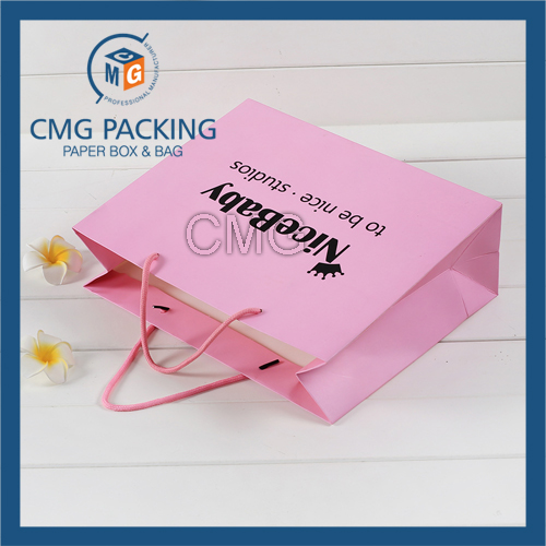 Promotion Paper Bag Pink Matt Surface Black Printing with Logo (CMG-MAY-038)