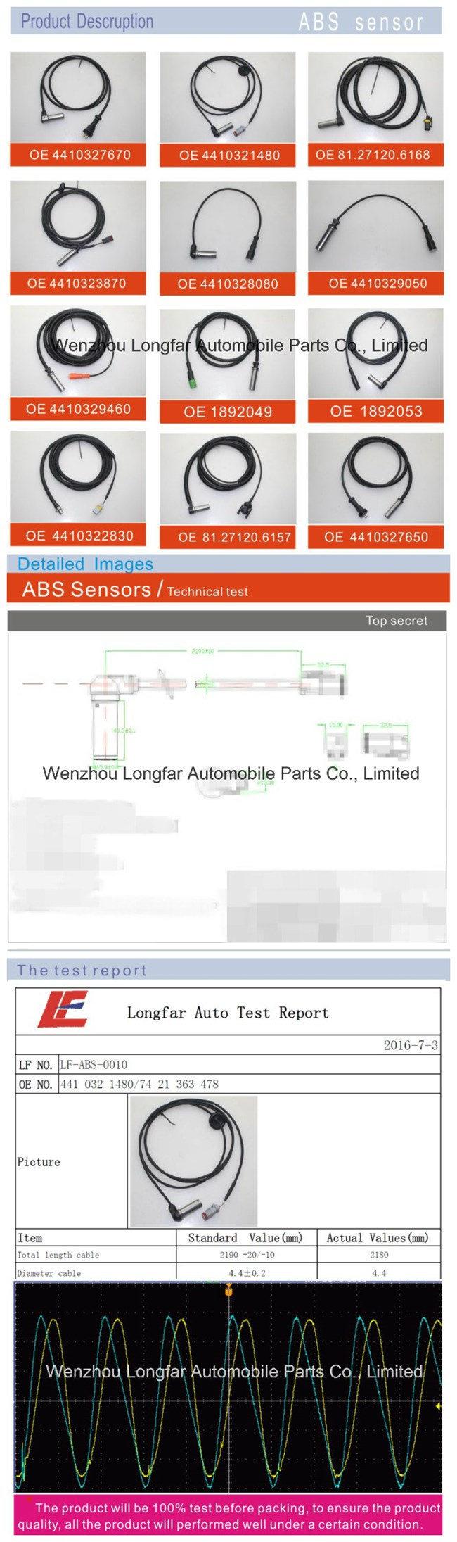 Auto Truck ABS Sensor Anti-Lock Braking System Transducer Indicator Sensor 12-34 899 0011, 81271206169, 81.27120.6125, 096.391, 75745, 3.37145 for Man,Dt,Meyle
