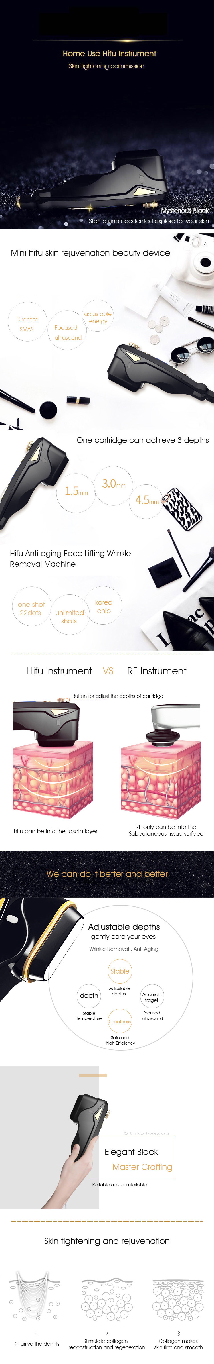2018 New Cartridges Hifu Mini Portable Face Lift Skin Tightening Beauty Machine