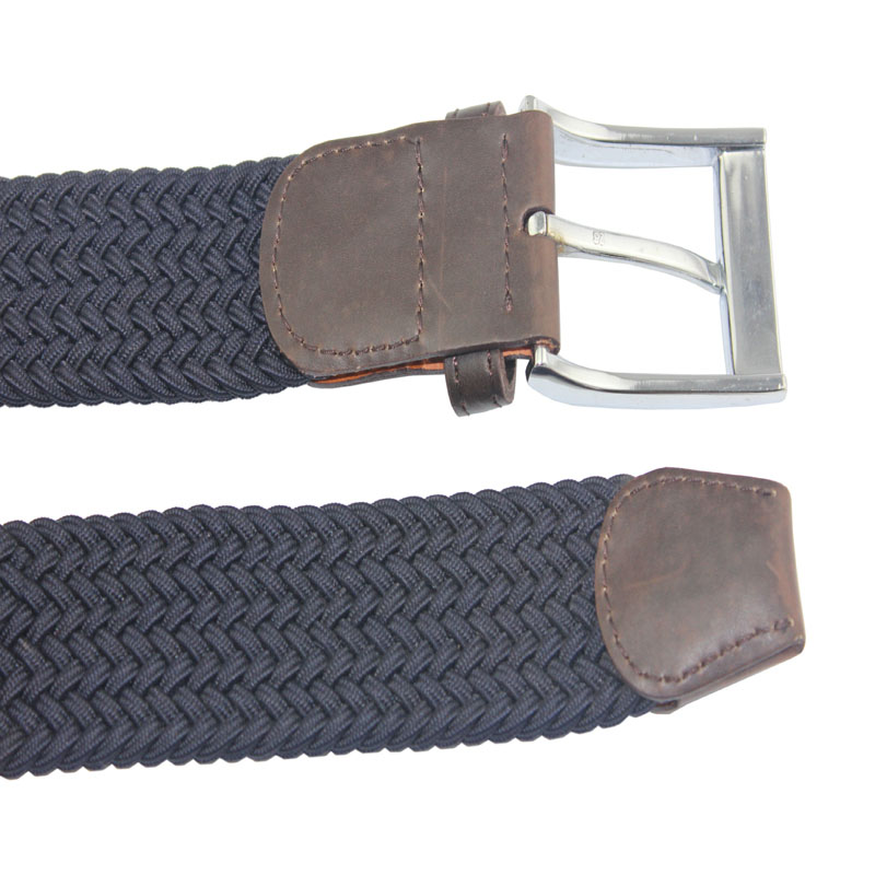 New Customized Woven Stretch Braided Elastic Belt with Leather Combine