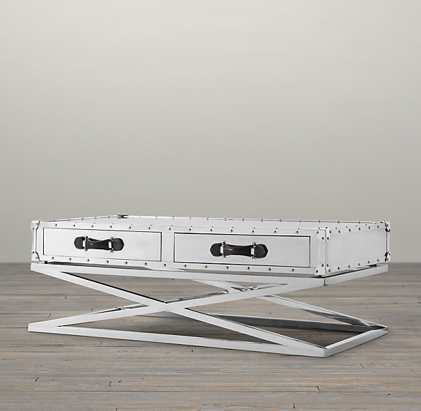 Classic Design Hotel Stainless Steel with Drawers Coffee Table, Cross Steel Base Coffee Table Rtk-92