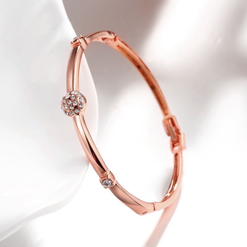 Simple Design 18k Rose Gold Women Bangle Diamond Inset Bangle