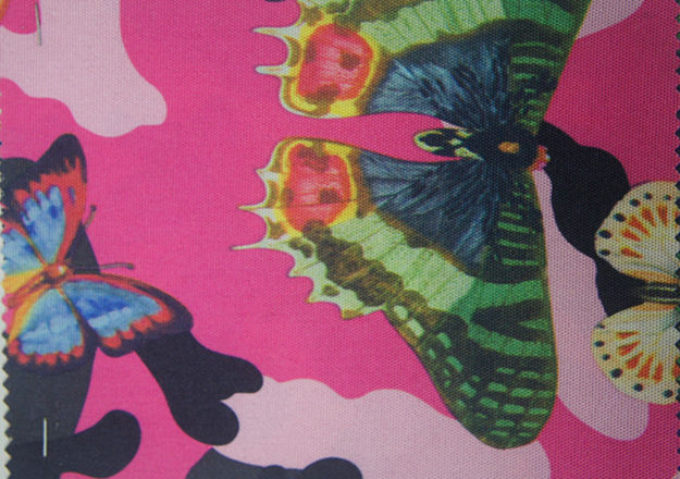 900d Polyester Printed Butterfly Fabric with PU Coating
