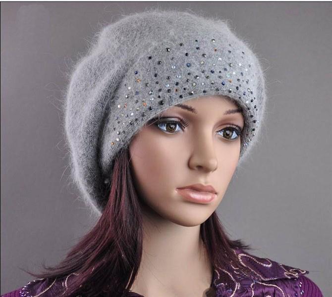 Womens Wool Angora Knitted Beads Slouchwarm Hat Beret Beanie (HW140)