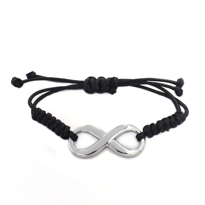 2016 New Design Free Custom Message Black Braided Leather Bangle Bracelet