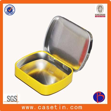 Custom Small Rectangular Hinged Lid Mint Candy Tin Packaging Box