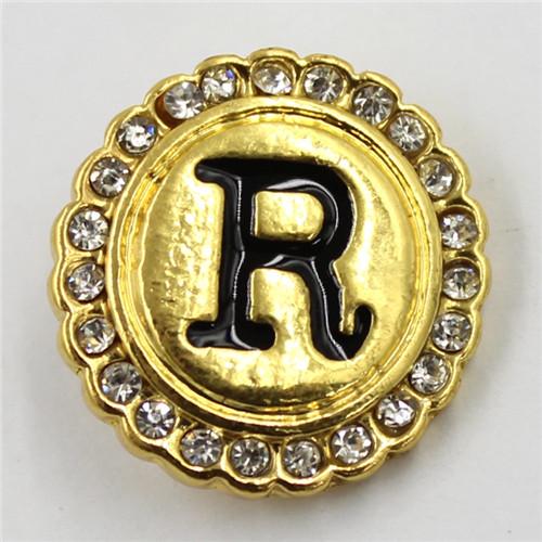 21mm Gold Letter Round Shaped Diamant Snap Button for DIY Bracelet