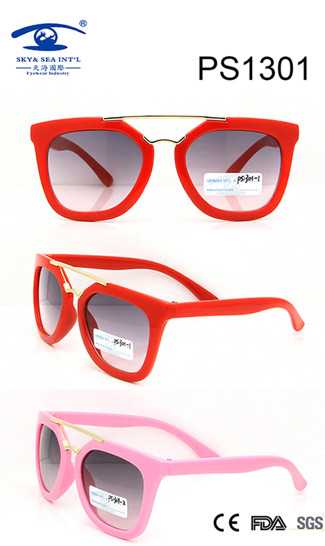 Fashionable Colorful Kid Plastic Sunglasses (PS1301)