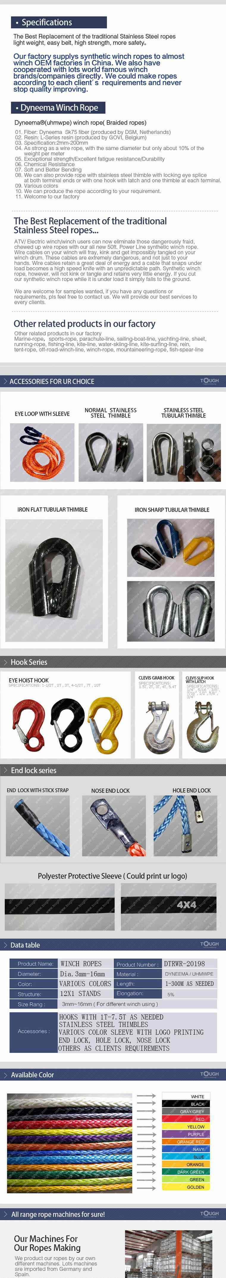 Hand Source Winch Rope Synthetic Fiber Material