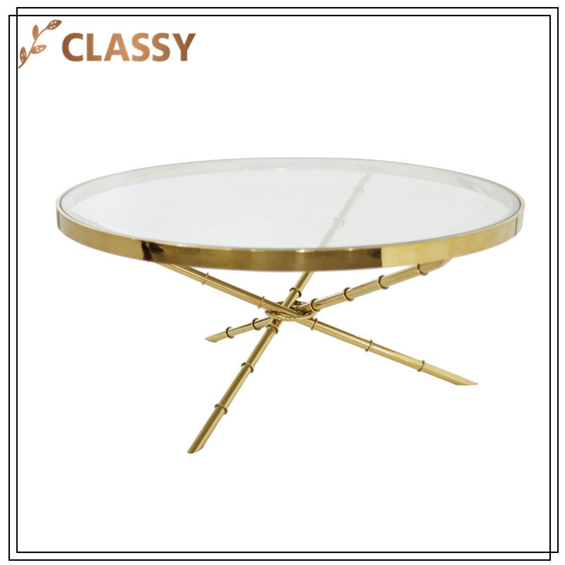 Round Transparent Glass with Golden Stainless Steel Coffee Table