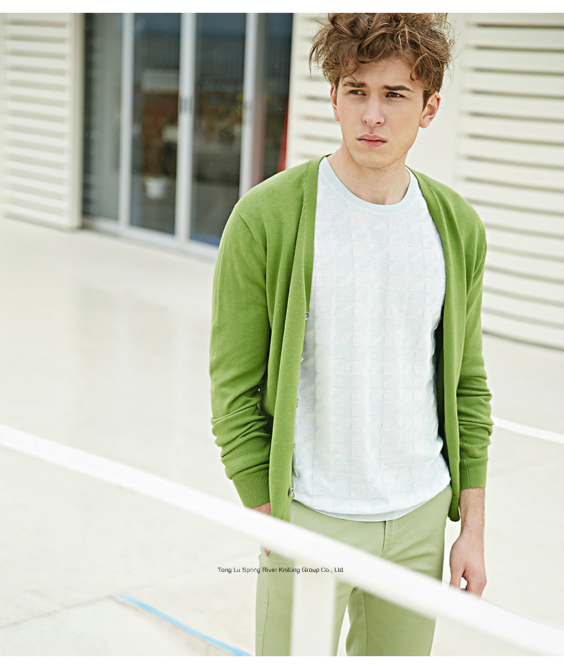 Light Green V Neck Men Sweater Cardigan with Button