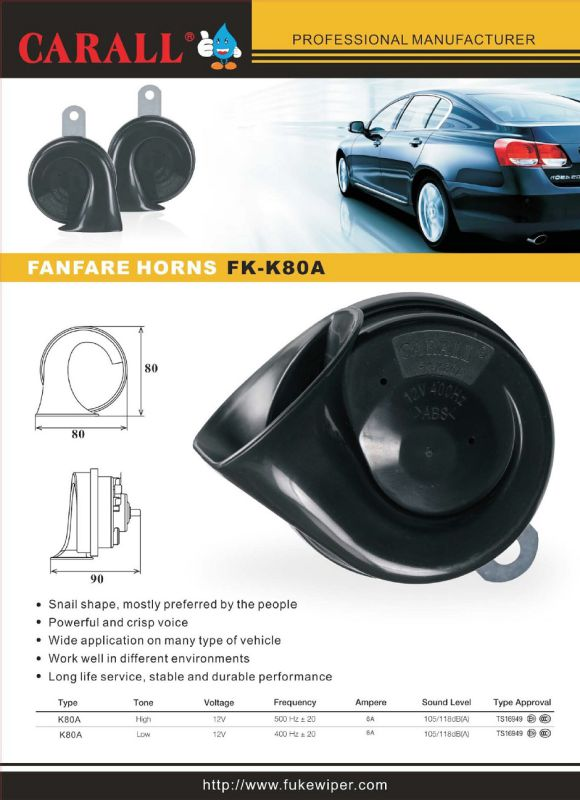 Fk-K80A Alarm Brand New Twin Pack Powerful Magic Voice waterproof DC 12V Car Speaker Auto Parts Shell Horns