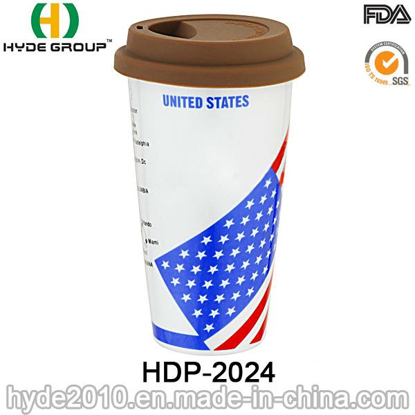 BPA Free Plastic Coffee Mug with Lid (HDP-2024)