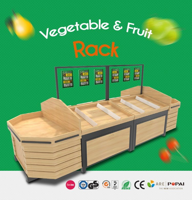 Wooden Fruits and Vegetables Display Rack for Stores and Supermarket