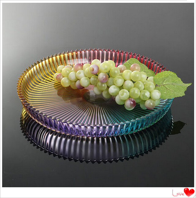 Colorful Customized Decoration Crystal Glass Fruit Bowl