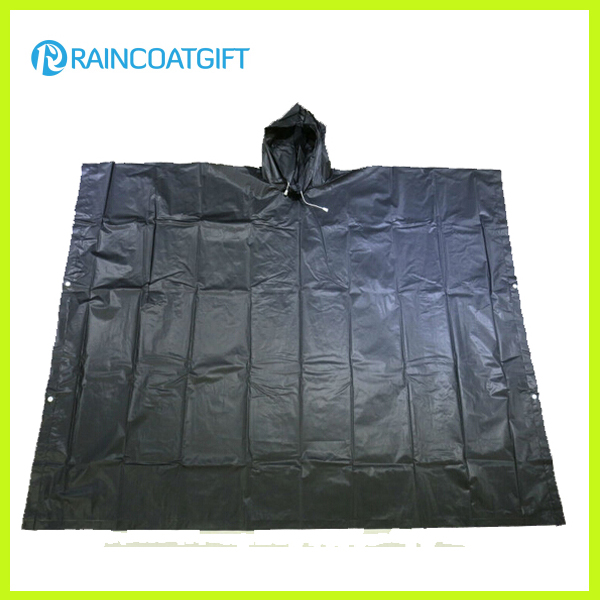 Emergency Black PEVA Rain Poncho Rpe-011