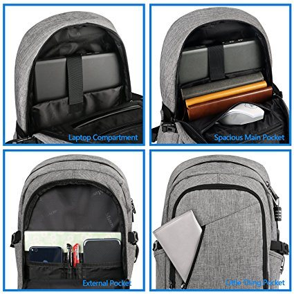 Business Laptop Backpack, Slim Anti Theft Computer Bag, Water-Resistent College School Backpack, Eco-Friendly Travel Shoulder Bag W/ USB Charging Port Fits Unde