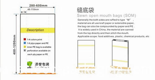 Multiwall Sewn Open Mouth Paper Bags for Seed Packaging