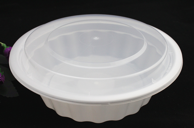 2500ml PP Plastic Microwavable Disposable Round Food Container with Lid/Cover