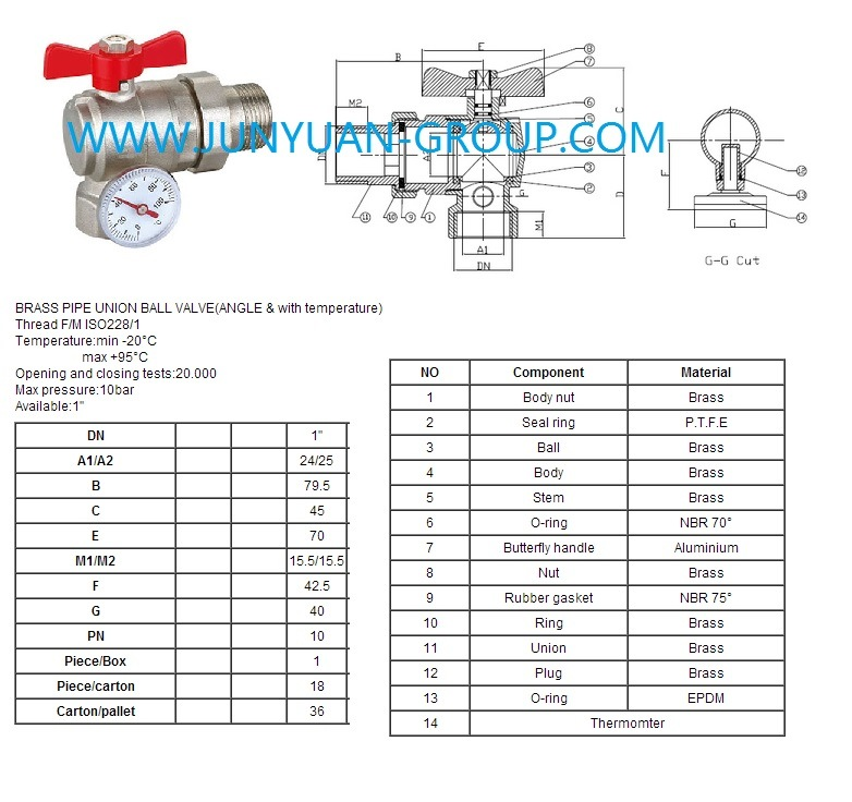 Brass Pipe Union Ball Valve (ANGLE & WITH TEMPERATURE)