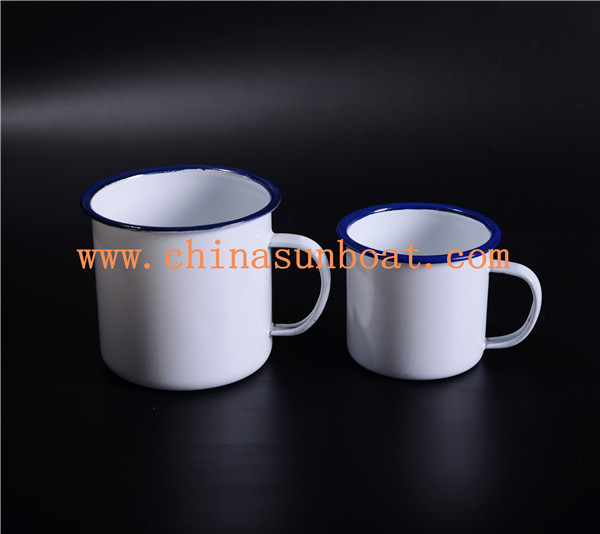 Sunboat Blue Rim Good Price Customized Enamel Mugs Enamel Metal Cup Tableware