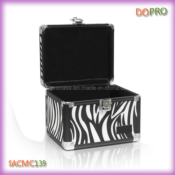 Small Size Zebra Pattern Metal Cases for Makeup (SACMC139)