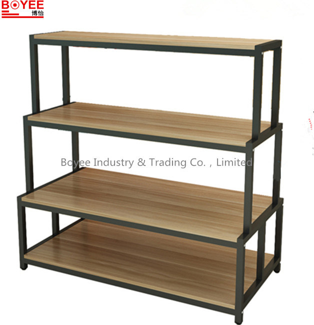Clothing Metal Display Stand with Wooden Basement