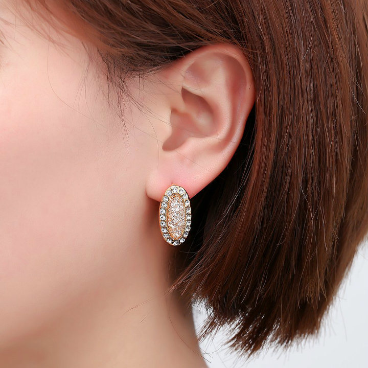 New Design Fashion Lady Girls Blue Flower Crystal Stud Earrings