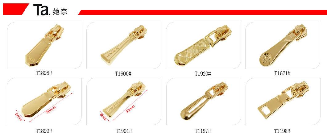 Custom Plating Color Metal Accessories Embossed Logo Metal Zipper Pull