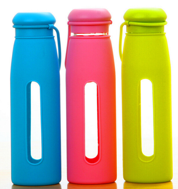 Hot Selling Glass Water Sport Bottle with Silicon Sleeve Portable Glass Bottle