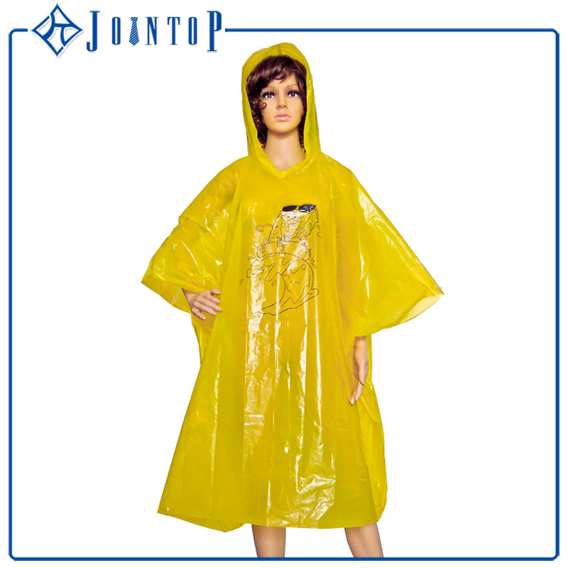Non-Disposable Clear Custom Printed PVC Rain Coat Poncho