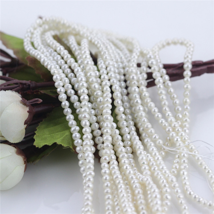 Small Seed 3mm Cheap Semi Round Natural Freshwater Pearl Strand