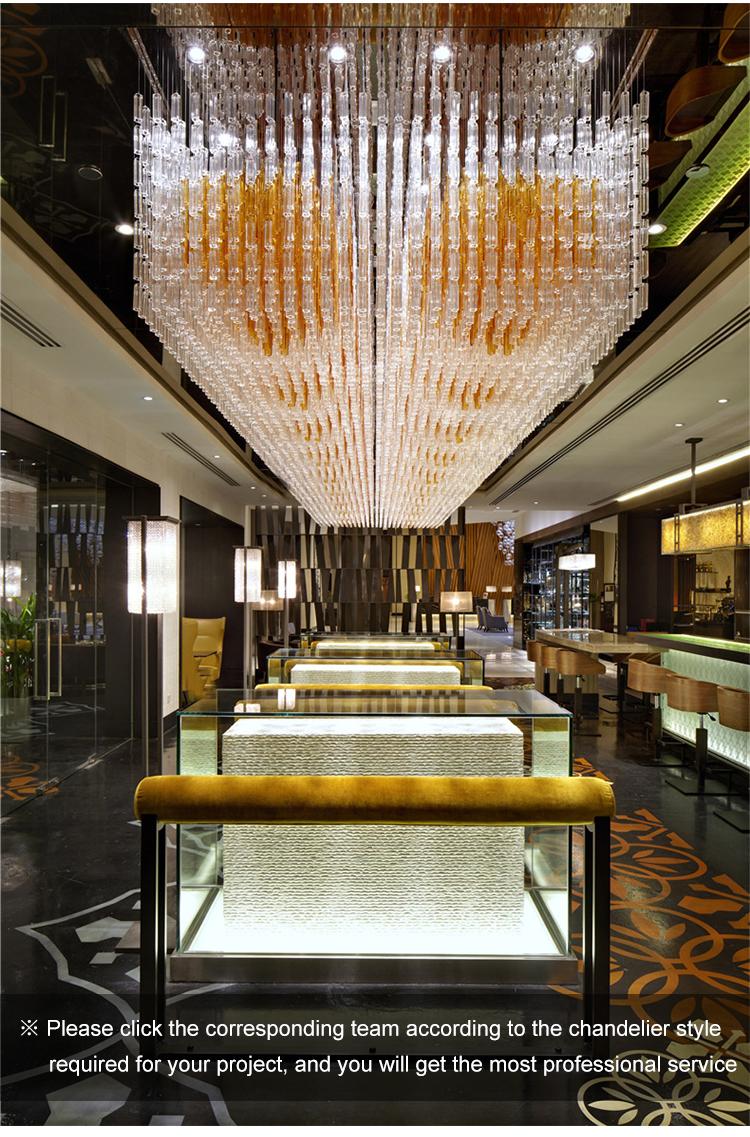 Contemporary elegant art type customized auditorium crystal chandelier pendant light