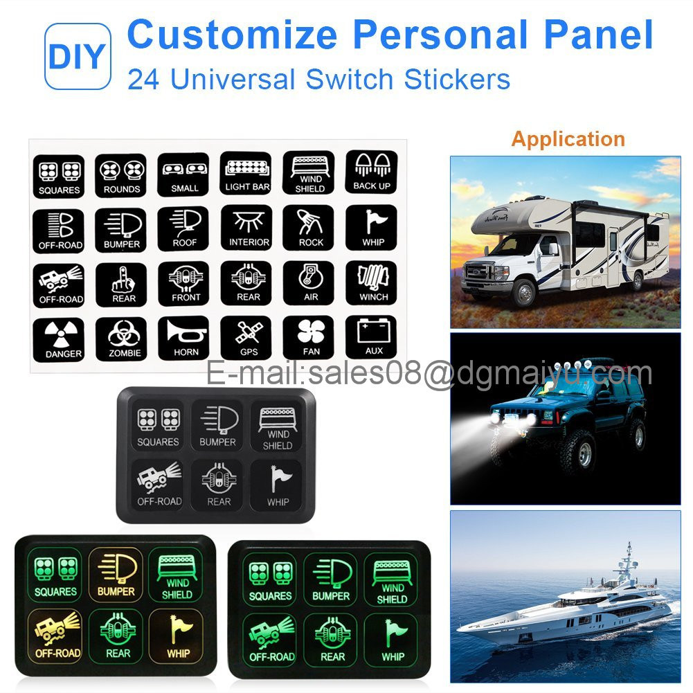 6 Gang Switch Panel Electronic Relay System Circuit Control Box Waterproof Fuse Relay Box Wiring Harness Assemblies DC12V for Car Auto Truck Boat Marine RV Cara