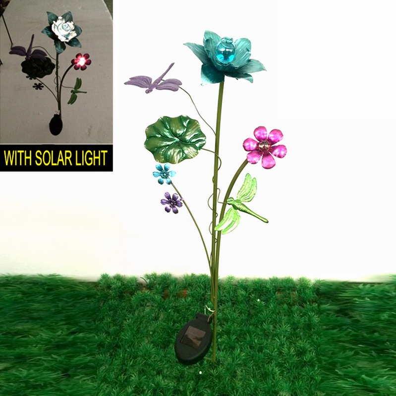 Metal Dragonfly Solar Lighted Decoration Garden Stake