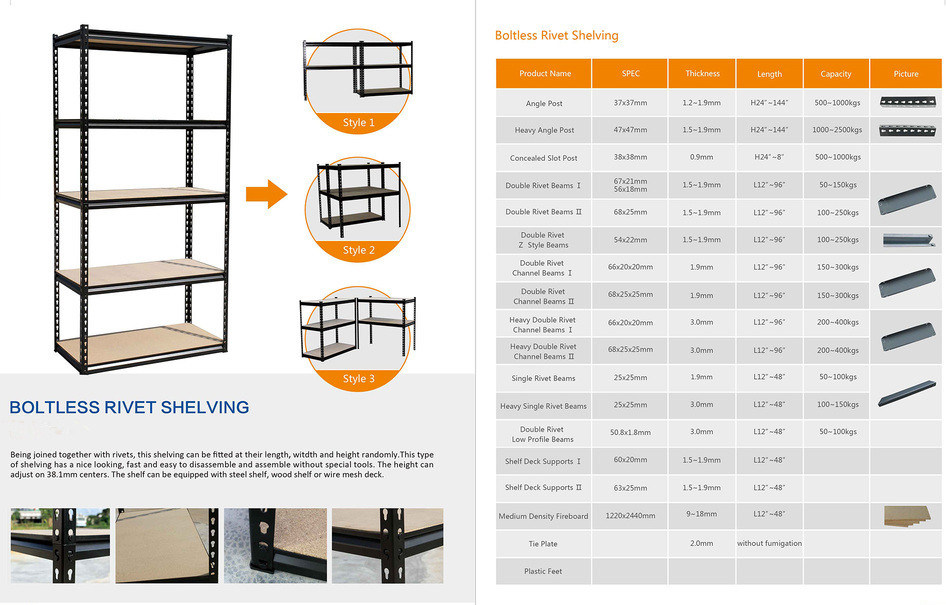 Boltless Steel Light Duty Storage Racks with Ce Cerificate