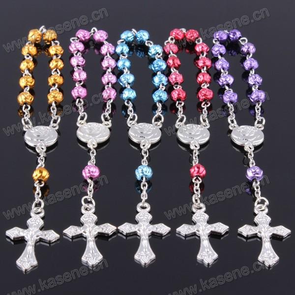 Cute Plastic Rainbow Rose Bead Metal Crucifix Decade Rosary